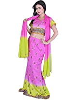 Exotic India Pink and Green Bridal Lehenga Choli with Beadwork and Sequin - Pink