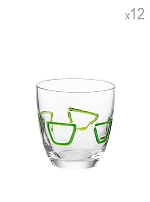 Guzzini Set 12 Bicchieri Acqua Mirage Verde