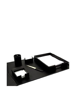 6-Piece Leather Desk Set, Black