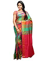 Lakshmi Venkateswara Silks Women's Soft Silk Saree with Blouse Piece (Green and Red)