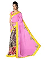 Admyrin Grey and Pink Georgette Saree With Art Silk Blouse