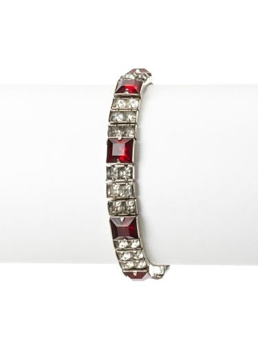 Lulu Frost 1930's Art Deco 2-Tone Crystal Bracelet, Silver/Ruby Red