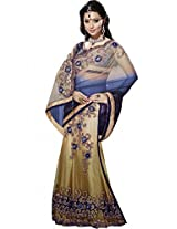 Sapphire Fashions Women's Blue Satin Sari