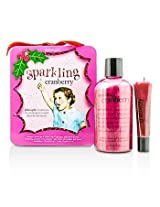 Philosophy Sparkling Cranberry Set: Sparkling Cranberry Shampoo, Shower Gel & Bubble Bath 240ml/8oz + Lip Shine 15ml/0.5oz 2pcs