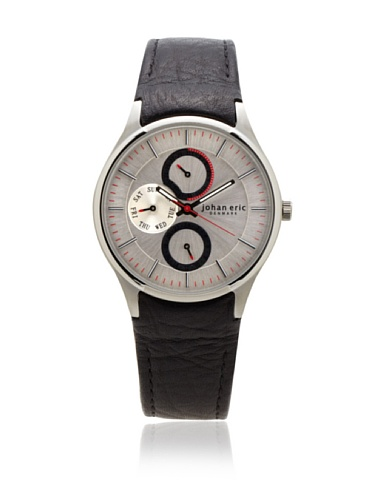Johan Eric Men's JE4000-04-001 Streur Silver Dial Leather Watch