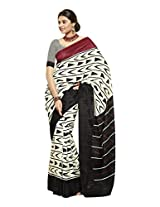 Brijraj Black White Bhagalpuri Silk Beautiful Printed Saree With Unstitch Blouse