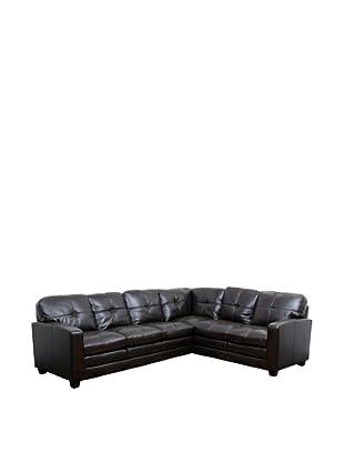 Abbyson Living Sethville Premium Top Grain Leather Sectional Sofa, Dark Brown