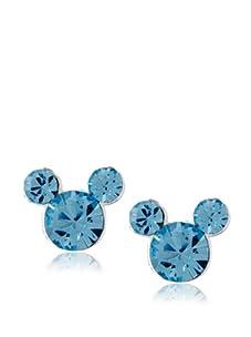 Disney Mickey December Birthstone Earrings, Silver