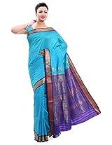 ISHIN Poly silk Bomkai Blue Saree