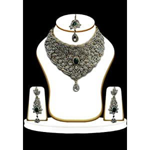 Green and White Swarovski Stone Studded Necklace Set