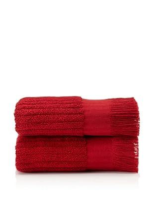 Pure Fiber Set of 2 Ribbed Hand Towels (Cranberry)