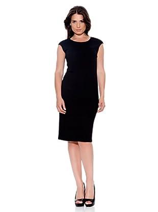 Caramelo Vestido Escote Espalda (Negro)