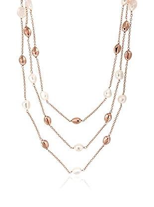 Perlaviva Collar Cultured Freshwater Pearl 3-Strand Rosado / Blanco