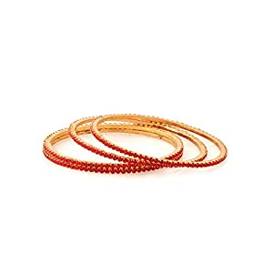 Voylla Glitzy Set Of 4 Bangles With Red Color Stones [Jewellery]