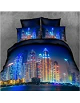 4pcs Suit 3D Brightly-lit City Reactive Dyeing Polyester Fiber Bedding Set Queen King Size
