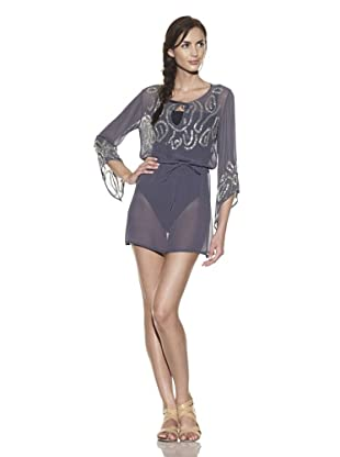 TIKKA Women's Sheer Embellished Drawstring Tunic (Slate/Silver)