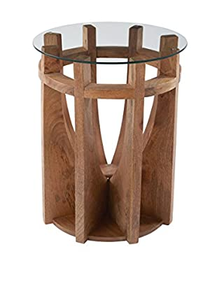 Artistic Lighting Wooden Sundial Side Table, Natural Mango