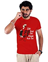 Enquotism Red Combed Cotton Fabric Round Neck Men Tshirt-M Olive Oyl-Honey Singh Red -M