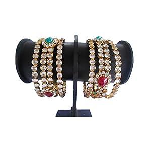My Design Multi-Colour Alloy And Brass Beautiful Kundan Bangle Set For Women (2.4)