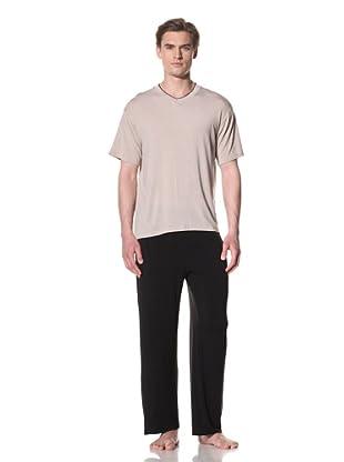 Sterling Majestic Men's Markham Modal Short Sleeve V-Neck Top (Sand Stripe)