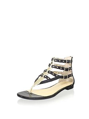 ENZO ANGIOLINI Women's Tobyn Multi Buckle Sandal (Black/Light Gold)