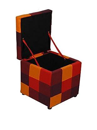 Evergreen House Puff Contenedor Rojo/Naranja