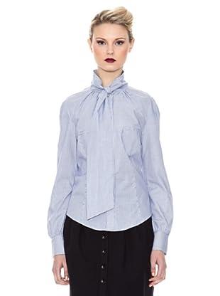 Kina Fernandez Camisa Cuello Lazo (Blanco / Azul)