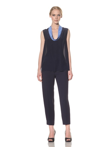Rachel Roy Women's Cowl Neck Tank (Deep Sea Blue/Natural White)