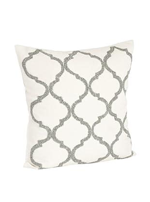 Saro Lifestyle Pewter Moroccan Design Beaded Pillow