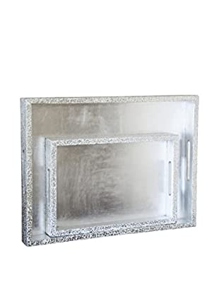 Couture Parker Set of 2 Rectangular Trays, Silver/White Cracked Eggshell/Silver Leaf