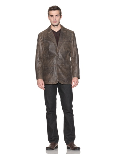 Jhane Barnes Men's Ambrience Lamb Leather Blazer (Brown)