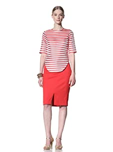 Bill Blass Women's Striped Crew Neck Top (Red/White)