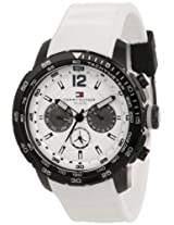 Tommy Hilfiger Men's 1790890  Sport Black Ion-Plated Bezel Multi-Eye White Silicon Strap Watch