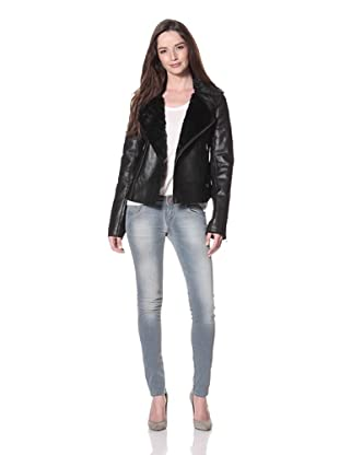 Cote by IMPROVD Women's Lou Leather Motorcycle Jacket (Black)