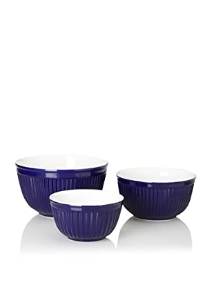Reco Römertopf Set of 3 Ribbed Bowls (Cobalt)