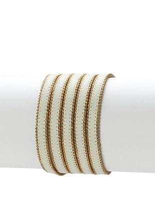 Presh 5-Strand Ball Chain Wrap Bracelet, Eggshell