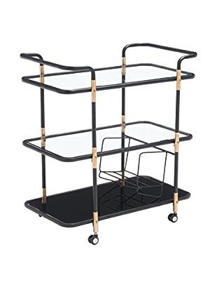 Zuo Secret Serving Cart, Black/Gold
