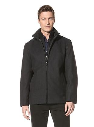 Calvin Klein Men's Ribbed Collar Jacket (Charcoal Melton)