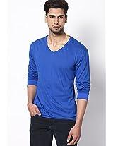 Blue Solid Full Sleeve V Neck T-Shirt
