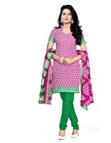 BanoRani Womens Pink Color Casual & Printed PolyCotton Ladies Unstitched Salwar Suit Dress Material with Printed Dupatta