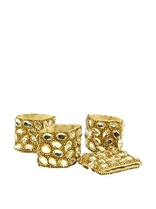 Aviva Stanoff Set of 4 Jewel Napkin Rings, Gold