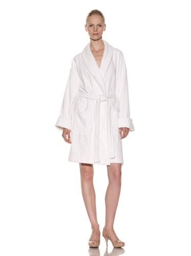 Aegean Apparel Women's Zero Twist Terry Loop Robe (White)