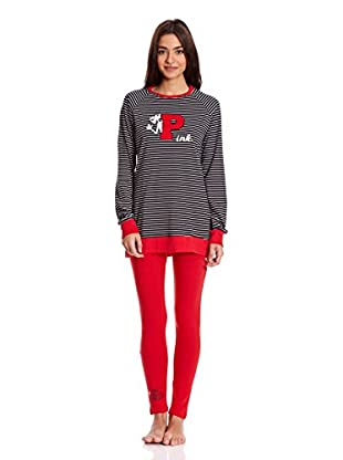 Gisela Pijama Camiseta Y Leggins (Negro)