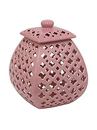 Three Hands Pink Covered Jar With Cutouts