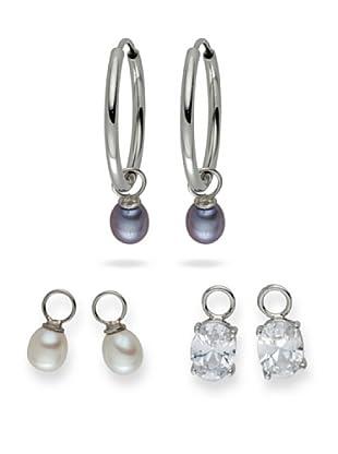 Yamato Pearls Ohrringe, 3-Er Set Einhängersüßwasserzuchtperlen