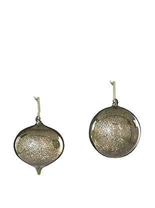 Sage & Co. Set of 2 Glass Onion Ball Ornaments