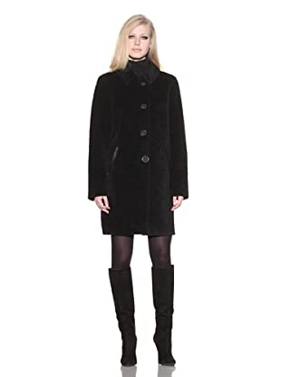 Dale Dressin Women's Clipped Coat with Leather Trim (Black)