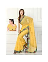 Diva Embroidery Georgette Saree - Yellow