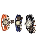 Vintage Combo of 3 PU Women Watches Vintage blk