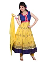Divinee Yellow Cotton Readymade Anarkali Suit